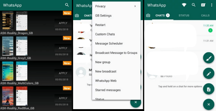 Screenshots of GB Whatsapp